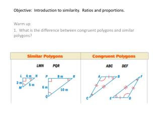 Objective:  Introduction to similarity.  Ratios and proportions.