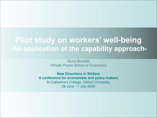 Pilot study on workers' well-being -An application of the capability approach-