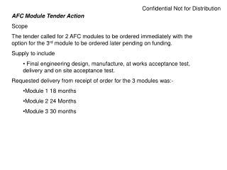 AFC Module Tender Action Scope