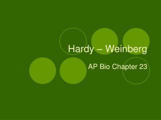 Hardy – Weinberg