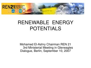 RENEWABLE  ENERGY  POTENTIALS