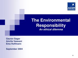 The Environmental Responsibility An ethical dilemma