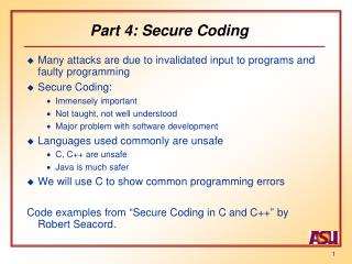 Part 4: Secure Coding