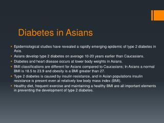 Diabetes in Asians