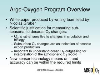 Argo-Oxygen Program Overview