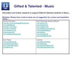 Gifted & Talented - Music