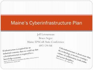 Maine's Cyberinfrastructure Plan