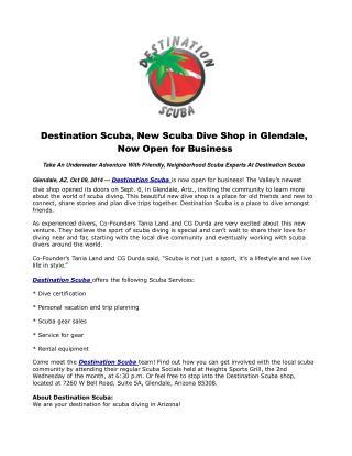 Destination Scuba, New Scuba Dive Shop in Glendale, Now Open