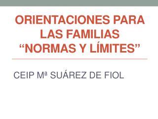 """ORIENTACIONES PARA LAS FAMILIAS """" NORMAS Y LÍMITES """""""