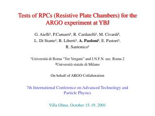Tests of RPCs (Resistive Plate Chambers) for the ARGO experiment at YBJ
