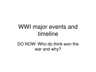 WWI major events and timeline