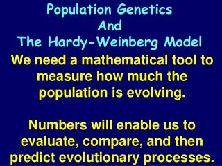 We need a mathematical tool to measure how much the population is evolving.