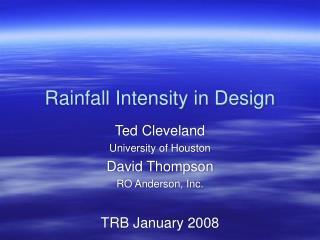 Rainfall Intensity in Design