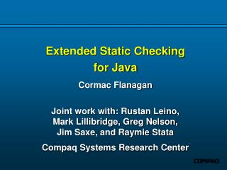 Extended Static Checking for Java