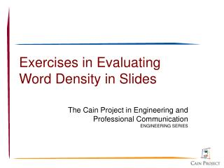 Exercises in Evaluating Word Density in Slides