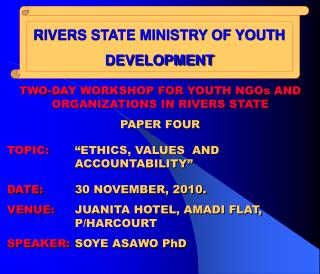 RIVERS STATE MINISTRY OF YOUTH DEVELOPMENT