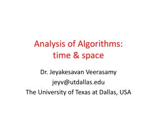 Analysis of Algorithms: time & space