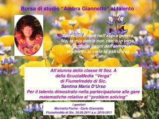 """Borsa di studio """"Ambra Giannetto"""" al talento"""