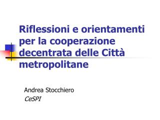Riflessioni e orientamenti per la cooperazione decentrata delle Citt� metropolitane