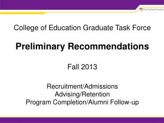 Framework for  Recommendations Program Area Level Department Level College Level