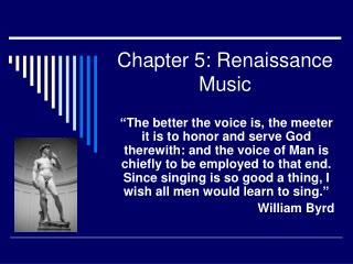 Chapter 5: Renaissance Music
