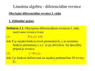 Lineárna algebra - diferenciálne rovnice