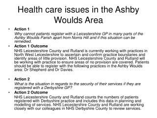 Health care issues in the Ashby Woulds Area