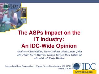 The ASPs Impact on the IT Industry: An IDC-Wide Opinion