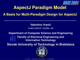 AspectJ Paradigm Model A Basis for Multi-Paradigm Design for AspectJ