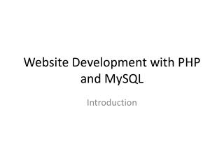 Website Development with PHP and MySQL