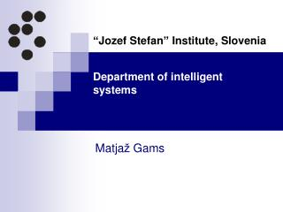 Department of intelligent systems