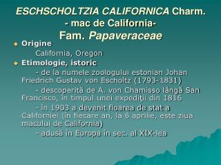 ESCHSCHOLTZIA CALIFORNICA  Charm. - mac  de C alifornia- Fam.  Papaveraceae