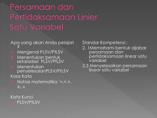 Persamaan dan Pertidaksamaan Linier Satu Variabel