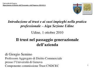Universit� di Genova Dipartimento di Diritto dell�Economia e dell�Impresa (DI.D.E.I)