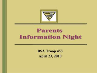 Parents  Information Night