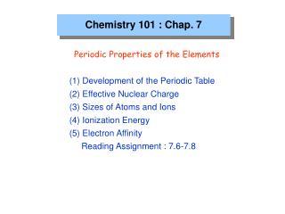 Chemistry 101 : Chap. 7