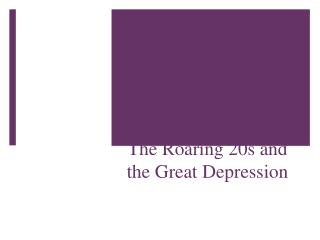From Boom to Bust: The Roaring 20s and the Great Depression