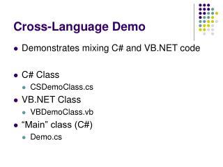 Cross-Language Demo