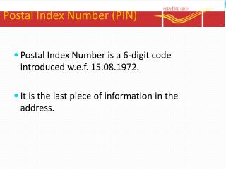 Postal Index Number (PIN)