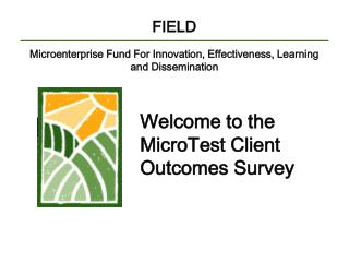 FIELD Microenterprise Fund For Innovation, Effectiveness, Learning and Dissemination