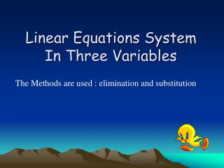 Linear Equations System In Three Variables