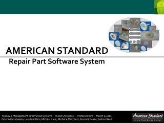 AMERICAN STANDARD    Repair Part Software System