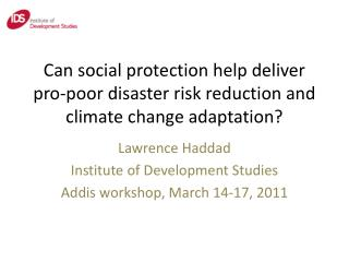 Can social protection help deliver pro-poor disaster risk reduction and climate change adaptation?