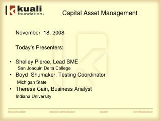 Capital Asset Management