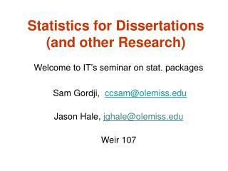 Statistics for Dissertations (and other Research)