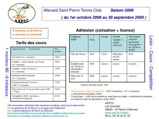 Allevard Saint Pierre Tennis Club         Saison 2009