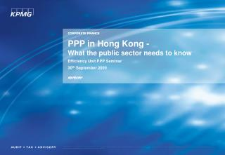 PPP in Hong Kong - What the public sector needs to know