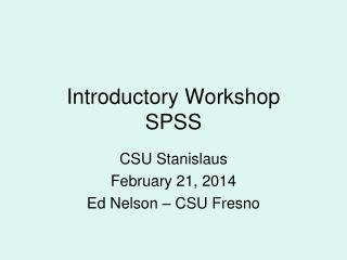 Introductory Workshop SPSS