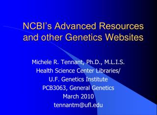 NCBI's Advanced Resources and other Genetics Websites