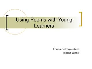 Using Poems with Young Learners